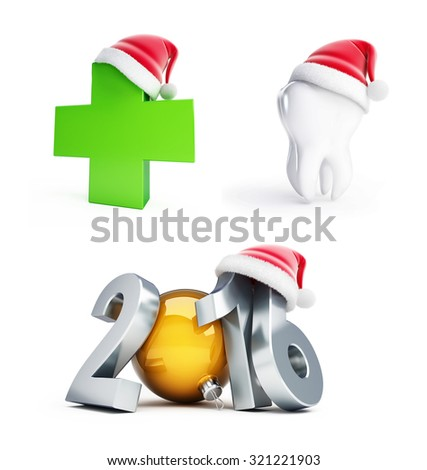 happy new year set 2016 santa hat 3d Illustrations on a white background - stock photo