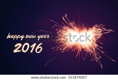 happy new year 2016 Sparkler at night, romantic moment - stock photo