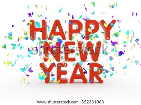 Happy new year text - stock photo