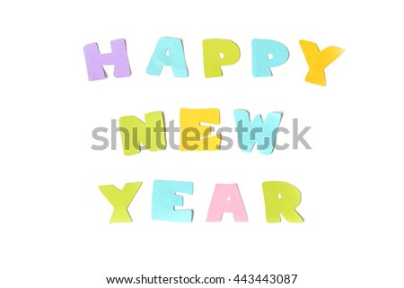 Happy new year text on white background - isolated  - stock photo