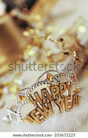 Happy new year tiara, still life - stock photo