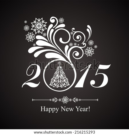 Happy new year 2015! Vintage card. Celebration black background with Christmas tree and place for your text.  Illustration  - stock photo