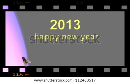 Happy new year 2013 with blank film strip frame - stock photo