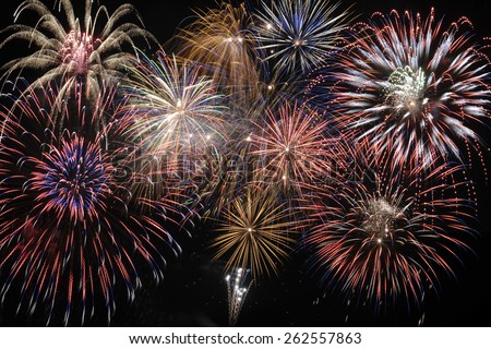 Happy new year 2016 with cascade firework at night - stock photo