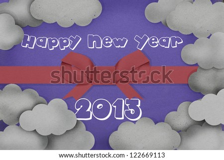 happy new year 2013 with sky and red ribbon - stock photo