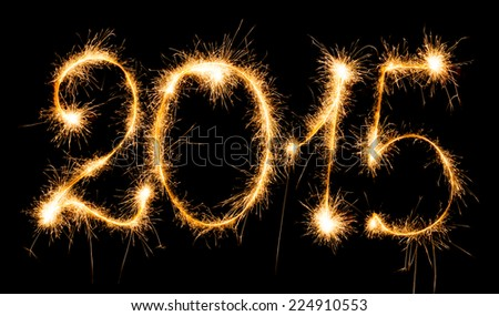 Happy New Year - 2015 with sparklers - stock photo