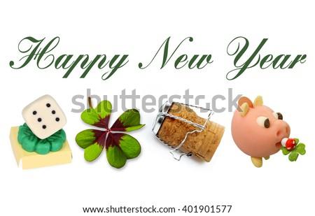 Happy New Year 2017 with Talisman Symbols on white Background - stock photo