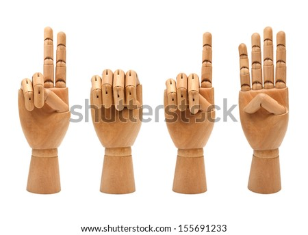 happy new year with wooden hands forming number 2014 - stock photo