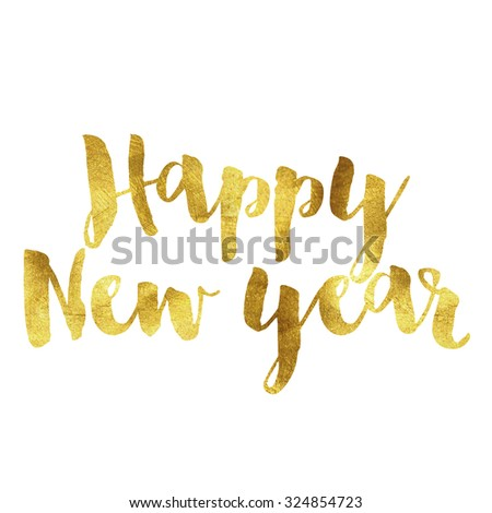 Happy new year written in gold leaf font - stock photo