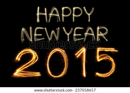 Happy New Year 2015 writting with Sparkling firework - stock photo
