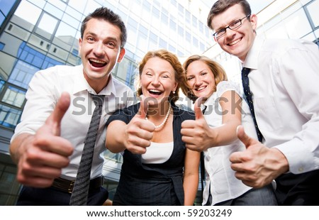 Happy office workers stay outdoor - stock photo