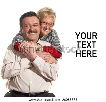 Happy old couple at home with copyspace. - stock photo