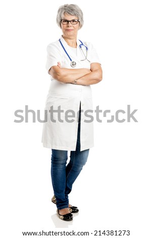 Happy old female doctor with hands folded, isolated on white - stock photo