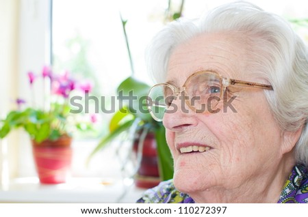 Happy old gray-haired woman with glasses - stock photo