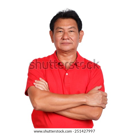 Happy old man red  t-shirt on white background - stock photo