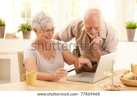 Happy older couple doing online shopping, laughing wife pointing at screen of laptop computer.? - stock photo