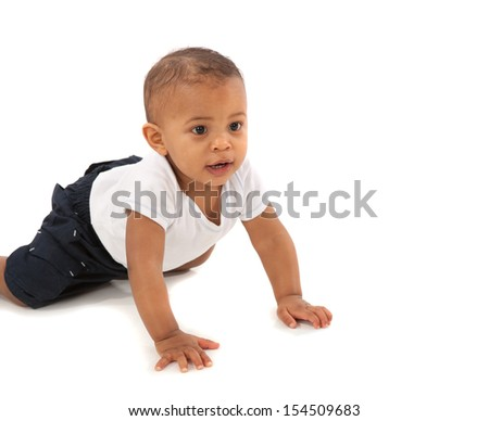 Happy One Year Old African American Baby Boy Crawling on Isolated Background - stock photo