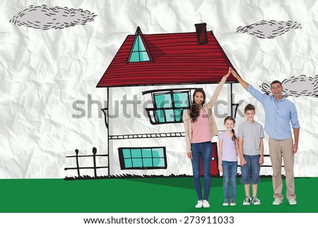 Happy parents joining hands above children against crumpled white page - stock photo
