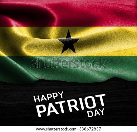 Happy Patriot Day Ghana flag on wood Texture background - stock photo
