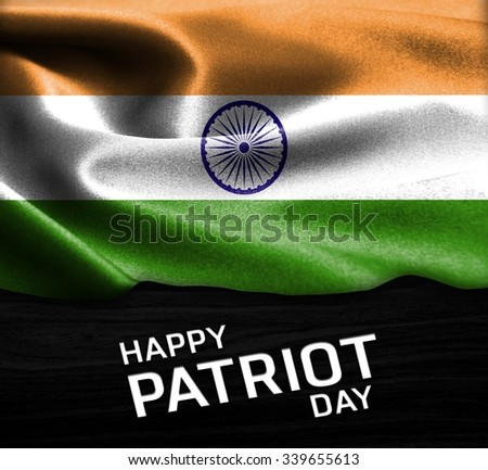 Happy Patriot Day India flag on wood Texture background  - stock photo