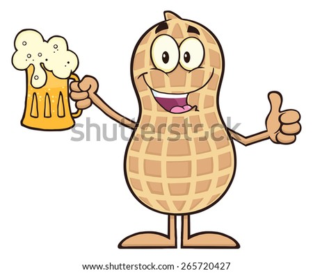 Happy Peanut Cartoon Character Holding A Beer And Thumb Up. Raster Illustration Isolated On White - stock photo