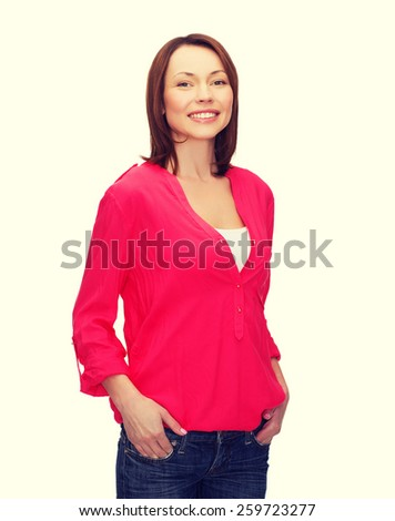 happy people concept - smiling woman in casual clothes - stock photo