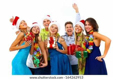 Happy people group isolated on white background. Christmas party. - stock photo