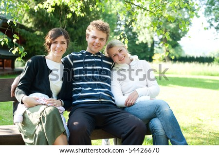 Happy people outdoor - stock photo