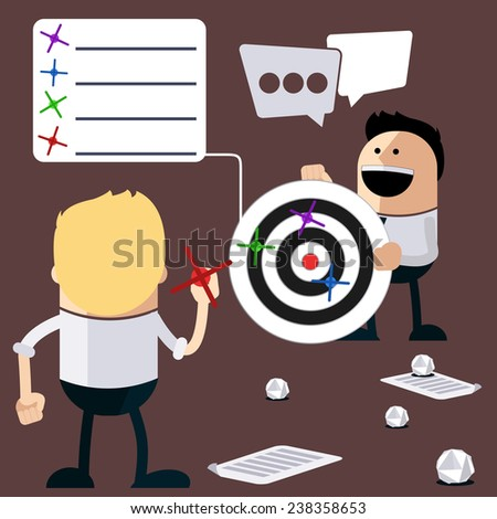 Happy people play darts and calculation of the results. Business results of ideas as they hit target cartoon flat design style. Raster version - stock photo