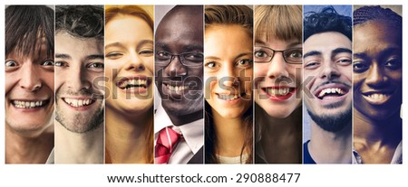 Happy people smiling - stock photo