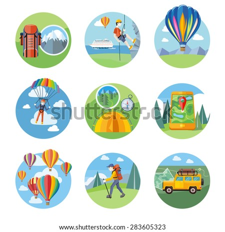 Happy peoples plans parachute. Man doing rock climbing. Colorful hot air balloons flying over the mountain. Man traveler with backpack hiking. Off-road car with map and compass on road. Raster version - stock photo