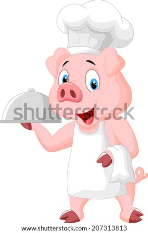 Happy Pig Chef Holding A Platter - stock photo
