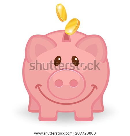 Happy piggy bank with coins.   - stock photo