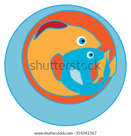 Happy Pisces sticker, clip-art hand drawn illustration of a cheerful cartoon character isolated on white - stock photo