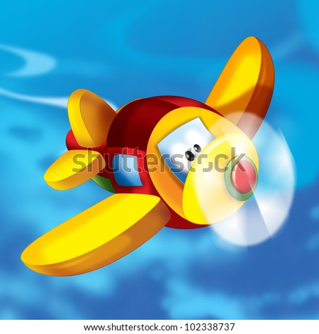 Happy plane in the sky - stock photo