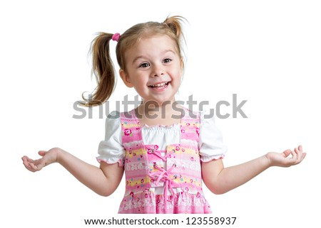happy playful child girl on white background - stock photo
