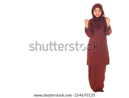 Happy portrait of young beautiful asian muslim woman with wearing hijab, Isolated white - stock photo