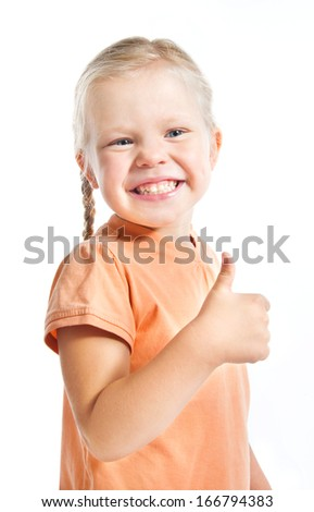 Happy preschool or elementary girl showing thumbs up,  Isolated on white background - stock photo