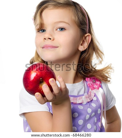 happy pretty girl with red apple on white background - stock photo