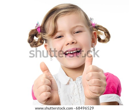 happy pretty girl with thumbs up on white background - stock photo