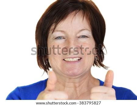 Happy pretty older woman - stock photo