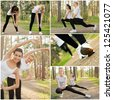 Happy pretty women with smiles doing stretches - stock photo