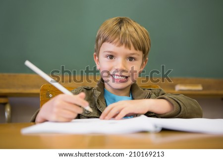Happy pupil writing in notepad at desk at the elementary school - stock photo