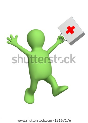 Happy puppet doctor with a portfolio in hand. Object over white - stock photo