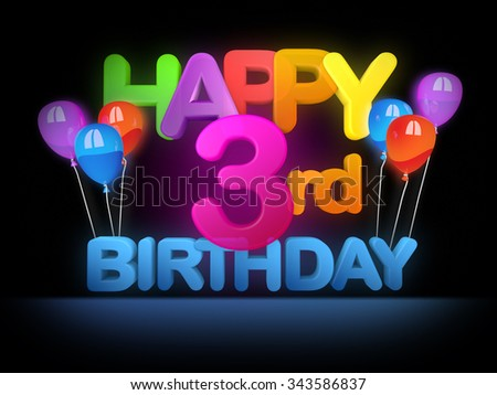 Happy 3rd birthday Title in big letters - stock photo