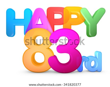 Happy 83rd Title in big letters - stock photo