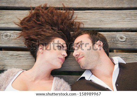 Happy real couple in love  - stock photo