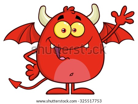 Happy Red Devil Cartoon Character Waving. Raster Illustration Isolated On White - stock photo