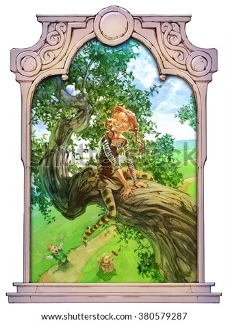 happy red haired girl sitting on a tree in summer framed with a stone decorated hand drawn arch - stock photo