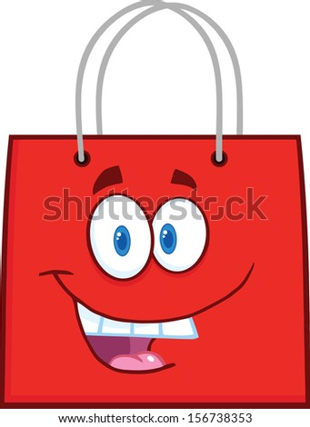 Happy Red Shopping Bag Cartoon Mascot Character. Raster Illustration - stock photo